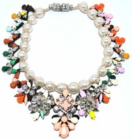 Sh ourouk candy color crystal knitted pearl elegant necklace limited edition