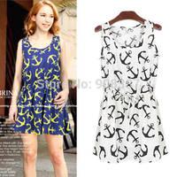 2014 new preppy style summer fashion girl dresses navy blue white Sailor anchor print tunic bandage vest short dress for women