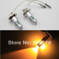 2 pieces / lot H3 50w Amber High Power LED SMD Fog Light Daytime Running Light Bulbs 12V 24v