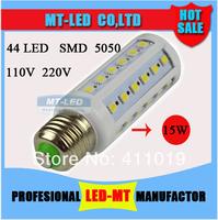 Retail HIGH POWER 15W E27 44Led bulb chip SMD 5050 AC110V-220V CREE Led cron lamp light 360 degree lamps FREE SHIPPING