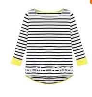 2014 Spring/Summer Fashion Hot Top Tees Women's Casual Black Long Sleeve Striped Dipped Hem T-Shirt