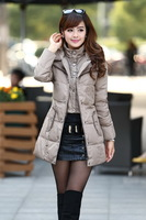 2013 slim medium-long with a hood outerwear casual thickening down coat with belt