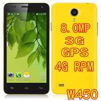 HOT Star W450 Android 4.2 MTK6582 Quad Core 1.3GHz WCDMA GPS 4.5 Inch Screen 1G & 4G Camera 8.0MP free shipping phone Portuguese