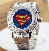 big face Cartoon hot dance HIPHOP Watch Superman Quartz Digital Silver Stainless Steel Band belt Men watches Free shipping