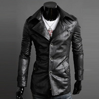 New 2014 Pu leather jacket motorcycle slim leather jacket men outerwear male leather clothing outerwear LW41117