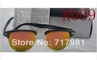 1pcs Mens Womens Designer 3016 Clubmaster Sunglasses Black Frame Orange Glass Lens RB Glasses High Quality