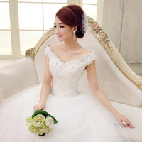 2014 slit neckline fashion bag bride bandage spring wedding dress
