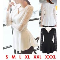 Plus Size XXXL Blusas Feminina 2014 V-Neck Lace Shirts Women Long Sleeve Chiffon Blouses White Vestidos Roupa de Renda Camisas