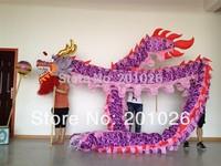 10m Length adult size  silk print fabric  purple Chinese DRAGON DANCE ORIGINAL Dragon Chinese Folk Festival Celebration Costume