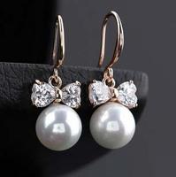 18K Gold Plated Fashion elegant rhinestones bowknot imitation-pearls earrings R4265