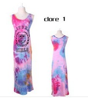 European and American style summer dress Tie dye print dress Stretch cotton fashion dress dress