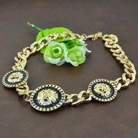 New 2014 European and American fashion personality thick chain three Lion head necklace for women