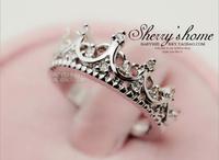 Fashion New Queen's Palace Hollow Women Rhinestone Wedding Rings Shiny Crown Rhinestone Rings Tail Rings Fashion Jewelry