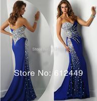 Fashion 2014 New  Sweetheart  Mermaid Floor Length Satin Long Evening Dress Rhinestone Prom Dresses