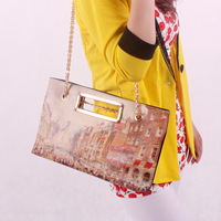 2014 New arrival women's London graffiti paintings vintage oil painting handbag chain shoulder bag PU leather women bag