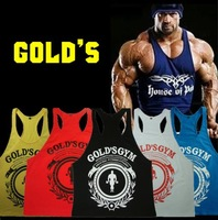 Summer 2014 Sport tank bodybuilding and fitness Golds gym clothing Brand men body sleeveless Printed sport wear vest tracksuit