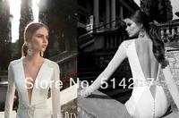 Sexy Fashion White Satin Mermaid Backless V-Neck Sash Tulle Backless Full Sleeves Floor Length Wedding Dresses  2014 New Arrival