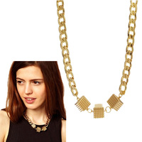 Hot 2014 New Women Europe and the United States all-match thick Choker Chunky Shiny lucky Cube chain necklace Wholesale SALE