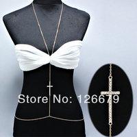 Fashion Crystal Cross Body Chain Body Jewelry Sexy Beach Bikini Body Product for Women