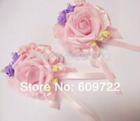 New Prom PU Handmade Boutonniere Wedding Decoration 10pcs Bride Artificial Rose Pearl Corsage Wrist Flower Bracelet Pink  Fl1393