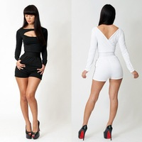 New 2014 Fashion Designer Women Sexy Black White Jumpsuits Elastic Bodycon Formal Party Evening Sexy Club Short Jumpsuits SJ1008