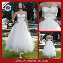 popular tea length plus size wedding dress
