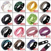Hot Sale European Fashion Slap Leather And Crystal Wrap Bracelets