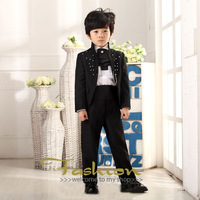 2014 new  Children's suit Black boys embroidered dress Stage performances clothing Costume boy 5 set