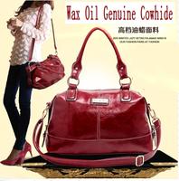 Hot 2014 New Wax Oil Genuine PU Leather Women Handbag UK&US Fashion Women Shoulder Bag Women Messenger Bag Vintage women bag