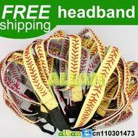 "100pcs Yellow with Red Seamed Stitching Real Leather Softball Sports 3/4"" Headband"