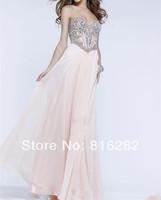 Free Shipping 2014 Sexy Pink Beautiful Crystal A-Line Chiffon  Prom Dress Sweetheart Neckline Sleeveless Graduatin Dresses