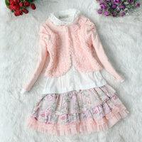 new Autumn Korean girls three pieces suit: Rose Lace Coat + cotton lace T shirt + cute skirt Children clothing sets kids