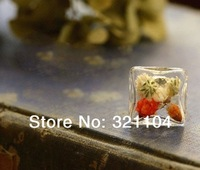 20set/lot 20mm Square Glass Bubble Glass Vial & Ring Base setting set DIY Jewelry Findings