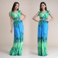2014 New Fashion Long/ Maxi Bohemian Dragon fly printed Women beach Dress Plus Size XL,2XL,3XL Freeshipping