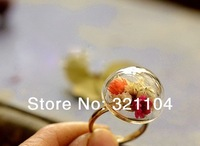 20mm Half Round Globle Glass Bubble Glass Vial & Ring Base set DIY Jewelry Findings