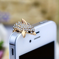 2014 New Cute Colorful Rabbit Ear Bowknot Dustproof Plug Ear Caps  Cell Phone Accessories