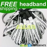 High quality white leather baseball softball with black stitching seam real leather headband
