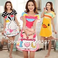 Free Shipping Cheap Female Summer Short-sleeve  Cotton sweet Nightgown sleepwear  Comfortable Pajama Set dress