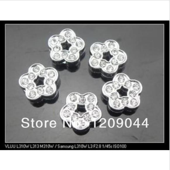 100pcs 8mm full rhinestone flower Slide Charms DIY Accessories Fit Pet Dog Wristband Cat Tag Collar(China (Mainland))