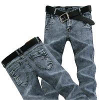 02 Spring Summer style Korean Slim / zipper men's jeans / fashion s casual cotton pants feet