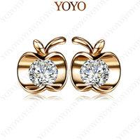 Apple Stud Earring 1Ct Simulated Diamond 18K Rose Gold Plated Apple Stud Earring USE SWA Elements Crystal(YOYO E177R1)