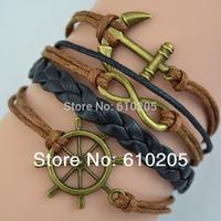 Wholesales 2014 New bracelets & bangles for Women Anchor Wrap Leather Bracelets