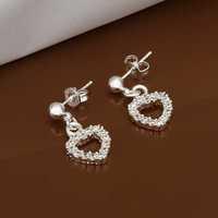 Free Shipping Wholesale 925 Sterling Silver Earring,925 Silver Fashion Jewelry,Austria Crystal Heart Earrings SMTE476