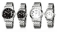 Fashion EYKI W8408 Women Dress Watches Men Wristwatches Classic Lover's Watch Quartz Calendar  Black White Steel Watchband