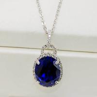 Luxury natural tanzanite pendant finger ring pure silver platinum certificate