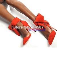New women big bow tie pumps pointed toe high heel sadnals suede gladiator sandals orange pink green blue black dress shoes