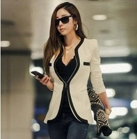 Hot!2014 New Fashion Winter Big size Women Slim Blazer Coat Casual Jackets Long Sleeve V-Neck Black White  Suit OL Outerwear