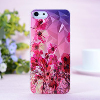 Free Shipping 1 Piece Purple Flowers Pattern Protective Cover Case For iPhone 5 5s