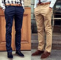 Slim trousers Skinny 2014 Casual pants Cotton.Black Khaki Beige Green Navy Retro Men's Drop-shipping Slim fit