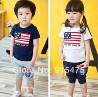 2014 New summer children's wear wholesale Boys girls suit flag leisure kids sport suit 5sets/lot